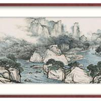 艺术品 : 橙舍 山水画国画办公室大气装饰画 关山月版画《漂游伴水声》