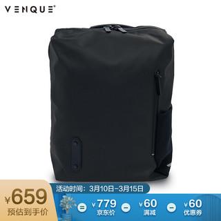 范克(VENQUE)北美轻奢潮牌14英寸轻便时尚电脑包 BOX方盒男女通用商务双肩包 黑色