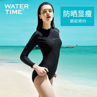 WaterTime泳衣女2021新款保守显瘦连体泳装长袖防晒专业黑色遮肚