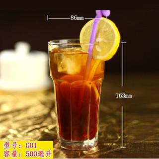 创意玻璃杯子果汁杯家用饮料杯沙冰杯加厚大号奶茶杯冷饮杯网红杯多款可选 G1(500毫升)