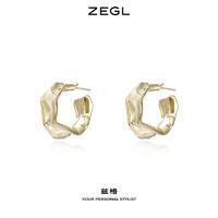 ZEGL金属褶皱耳环简约耳圈女气质耳钉2021年新款潮925银针耳饰品