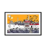 维格列艺术 艺术家 Rob Pepper 原作版画《龙墙故事-上海》106×60 2019年作品
