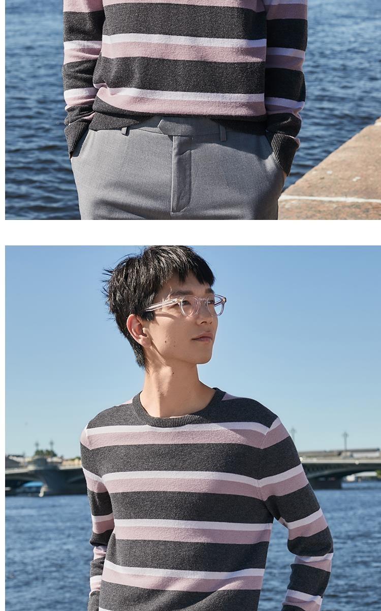 杰克琼斯秋男撞色条纹舒适休闲针织上衣羊毛衫219324523