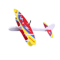 儿童充电组装飞机玩具手工制作泡沫双翼机手抛滑翔机电动感应模块航模耐摔回旋飞机模型 电动手抛飞机