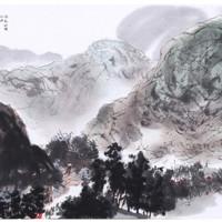 荣宝斋 木版水印 国画  傅抱石 风展红旗如画 40*58cm 画片