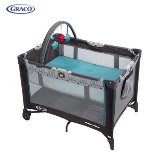 美国原版葛莱GRACO多功能婴儿床可折叠便携式宝宝游戏床 bb摇篮床 可移动室内室外睡玩一休双层床 蓝色
