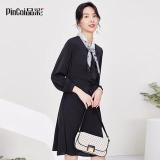 品彩 PinCai 2021年春夏季赫本风连衣裙系带收腰中长款V领长袖连衣裙女 PW11LC553 黑色 M