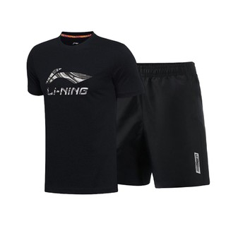 李宁夏季男士舒适吸汗透气健身跑步新疆棉运动套装