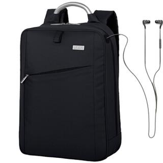 法国乐上(LEXON)双肩包14英寸商务电脑包男士休闲时尚防泼水背包 轻便出差通勤笔记本包 蓝黑色