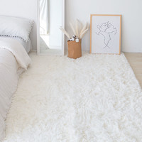 北欧ins风卧室地毯飘窗满铺床边毯床前厚家用少女纯色长毛绒定制 纯白(加厚加密长绒)长 160cm x 宽 60cm√