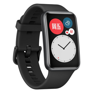 HUAWEI 华为 WATCH FIT 智能手表 46mm 黑色表盘 石墨黑硅胶表带(血氧、GPS、NFC、扬声器、温度计)