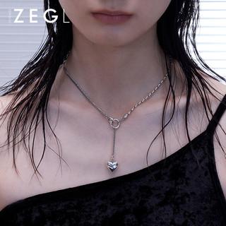 ZENGLIU欧美复古爱心项链女小众设计Y字型锁骨链毛衣链2021年新款