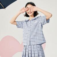 乐町格纹学院风上衣2020春季新款蓝色格纹衬衫女(该链接仅售上衣)