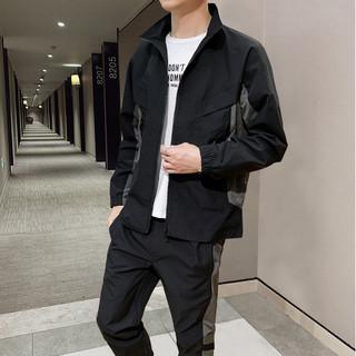 德尔惠男款休闲运动套装时尚撞色男式长袖上衣服男装帅气外套
