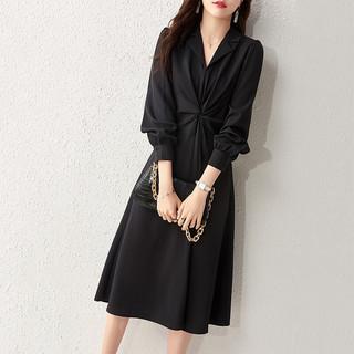尚都比拉气质西装领收腰连衣裙女春季中长款修身小黑裙子111L34458黑色XL