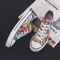 新品运动休闲鞋情侣款帆布鞋涂鸦国潮板鞋休闲鞋