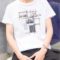 YALU 雅鹿 男士短袖t恤圆领宽松衣服夏季重磅纯棉大码半袖体恤男装潮流
