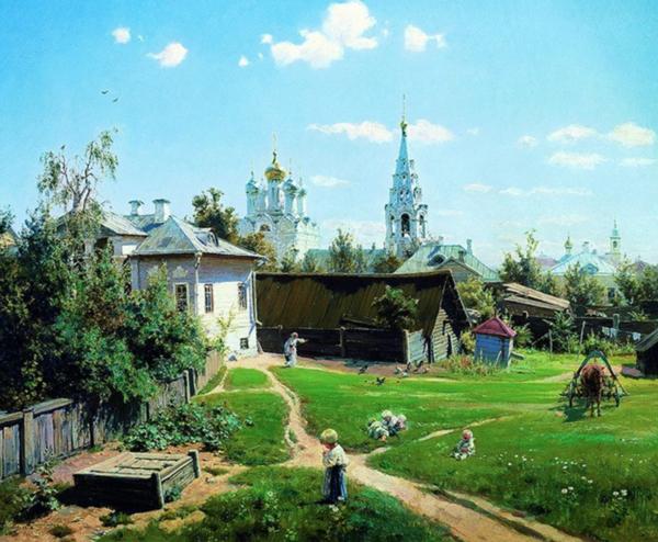 波连诺夫《莫斯科的院落》 100×82cm 装饰画 油画布