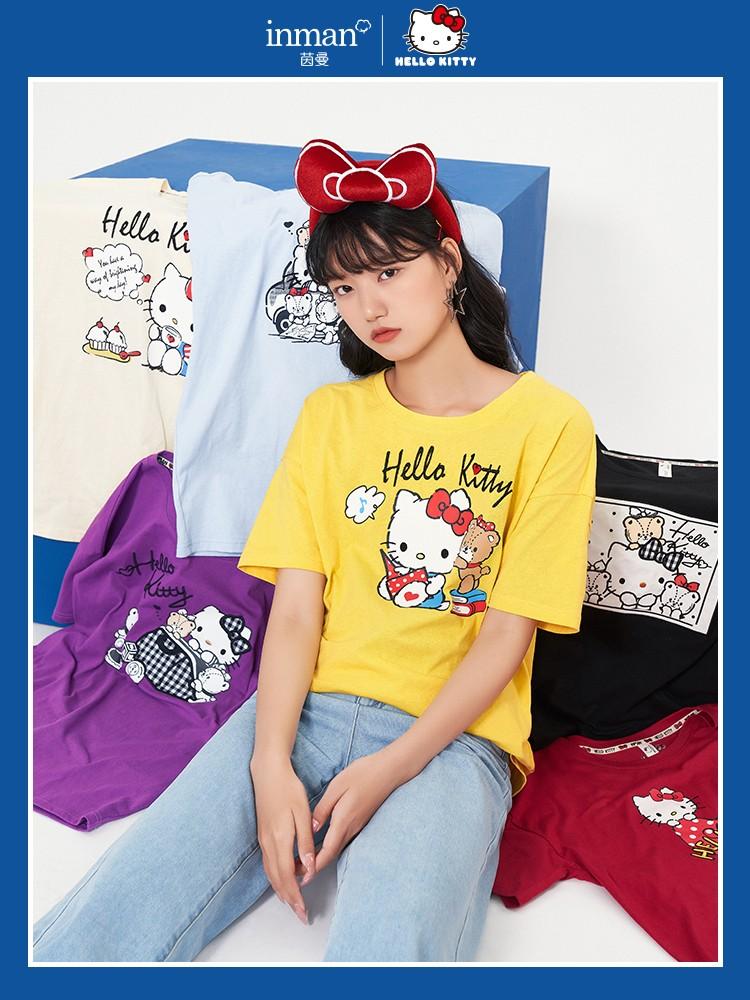 INMAN/茵曼 Hello Kitty联名款 女士短袖印花T恤 181_TM2310a