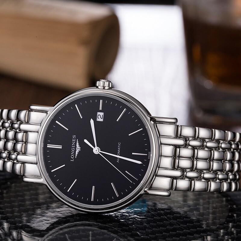 浪琴(Longines)手表 瑰丽系列瑞士男表时尚商务机械机芯男士手表 L4.921.4.52.6机械钢带黑盘38.5MM