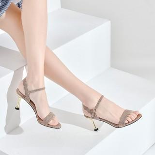 Josiny 卓诗尼 日常休闲夏季新款女士高跟凉鞋纯色细跟搭扣时尚百搭女鞋