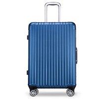 Carany 卡拉羊 卡拉羊铝框拉杆箱20英寸可登机男女时尚万向轮行李箱防刮耐磨旅行箱商务出差密码箱子CX8622深海蓝
