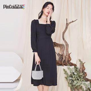 PinCai 品彩 2021年春法式浪漫长款收腰方领长袖连衣裙女时尚百搭长裙 PW11CQ261 黑色 M