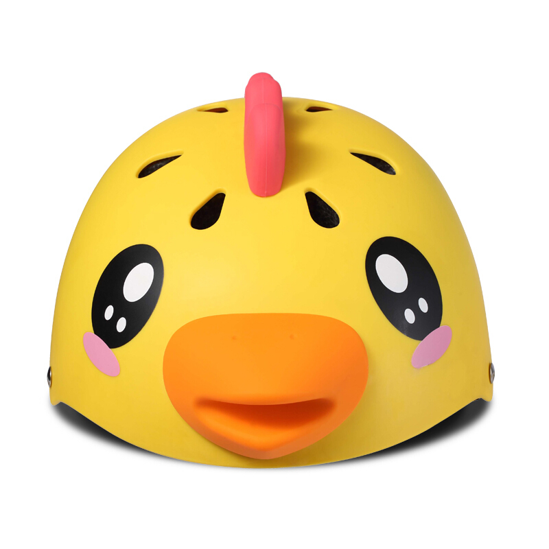 柒小佰 儿童运动头盔安全防护舒适透气骑行运动配件 儿童防护头盔 黄色小鸡款