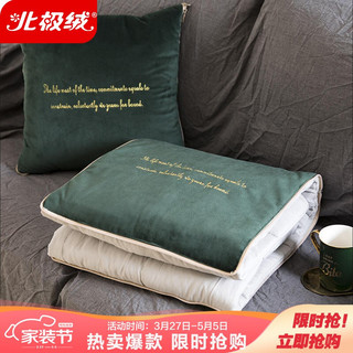 Bejirog 北极绒 四季多功能抱枕被两用靠垫 午睡被子毛毯 办公室沙发汽车腰靠靠枕 墨绿色 45*45cm