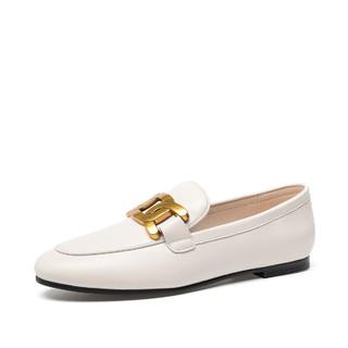 MARK FAIRWHALE 马克华菲 女士乐福鞋一脚蹬英伦风懒人小皮鞋软皮复古金属扣平底单鞋女鞋