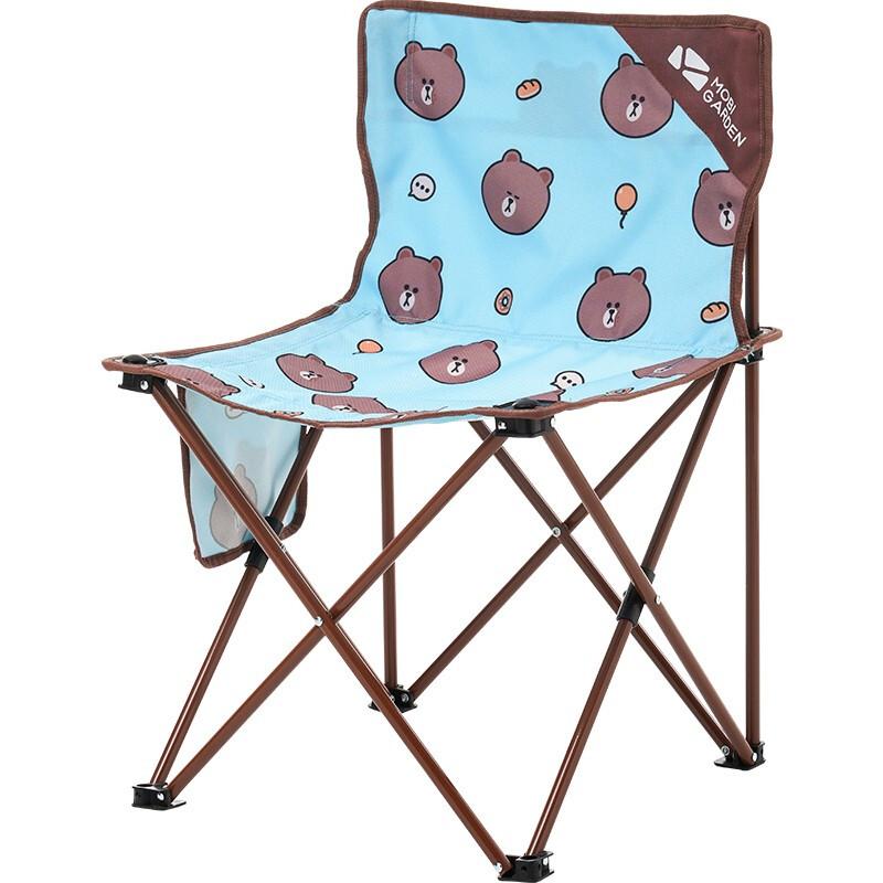 牧高笛(MOBIGARDEN) Line Friends联名款 活力布朗熊 户外露营野餐迷你折叠椅 NX21665004 布朗熊蓝印花