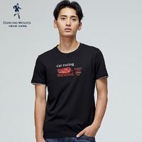 与狼共舞男装T恤男夏新休闲时尚短袖T恤 001黑色 170/88A