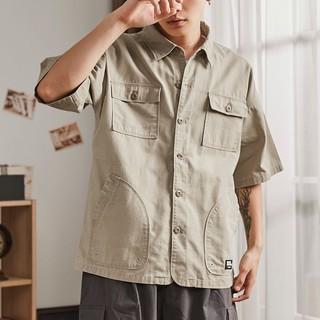 Tonlion 唐狮 1折价49唐狮美式工装衬衫男短袖夏季军事风口袋衬衣日系复古宽松外套潮_