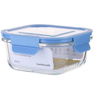 LOCK&LOCK 乐扣乐扣 乐扣乐扣(LOCK&LOCK) 便当盒 耐热玻璃密封容器 LLG983BLU 正方形 520ml
