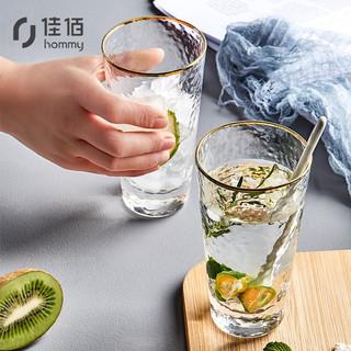 hommy 佳佰 玻璃杯家用2只套装高硼硅耐高温耐热杯子果汁杯饮料杯ins风创意日式金边锤纹水杯