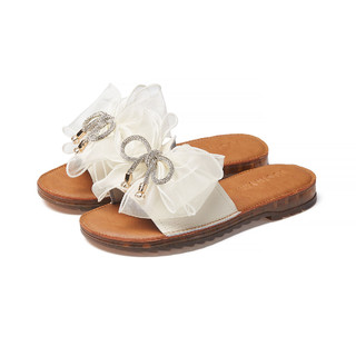 Josiny 卓诗尼 2021夏季新款时尚百搭软底真皮懒人拖蝴蝶结时尚外穿女士拖鞋