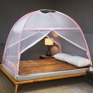 柚寝 1.8m床蒙古包免安装蚊帐加密加厚双门开