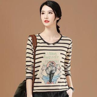 HAN CHAO XI REN 韩潮袭人 卡通印花条纹长袖打底针织衫2021春装新款圆领套头女 米灰条 L