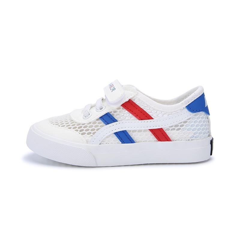 回力 童鞋男童2021夏季新款单网鞋网面镂空透气小白鞋儿童运动鞋潮 白红 28