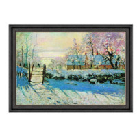 莫奈风景油画《喜鹊》背景墙装饰画挂画 70×50cm 油画布