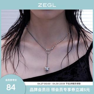 ZENGLIU 欧美复古爱心项链女小众设计Y字型锁骨链毛衣链2021年新款