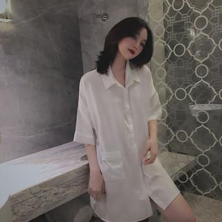 PEANOJEAN  6746 女款宽松白衬衫睡裙