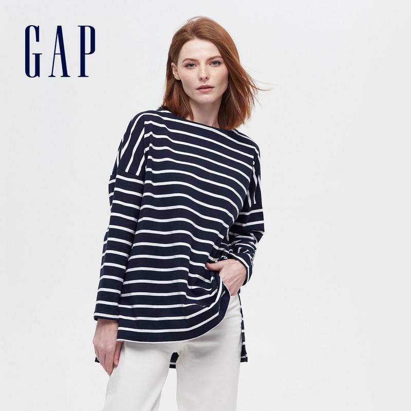 Gap 盖璞 656453-584414 女士圆领纯棉长袖T恤