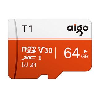 aigo 爱国者 爱国者(aigo T1手机内存卡64G tf卡行车记录仪高速储存卡监控摄像头内存专用Micro sd卡