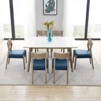123807+123807 实木框架餐桌椅组合 一桌六椅