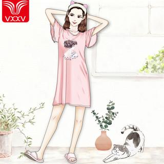 夏季带胸垫睡衣女薄款短袖大码胖mm宽松韩版可爱卡通冰丝夏天睡裙