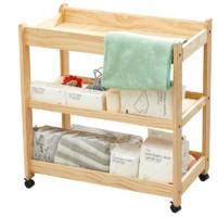 babycare 多功能可折叠尿布台新生儿婴儿护理台可移动婴儿床收纳架实木尿布台