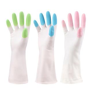 喜家家  家务手套橡胶洗碗手套树脂防水护手厨房清洁工具 3双装炫指-单层款