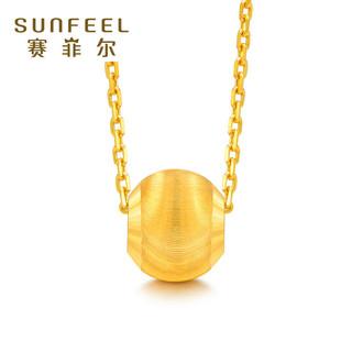 赛菲尔珠宝3D硬足金猫眼转运珠吊坠路路通黄金项链时尚女款不含链