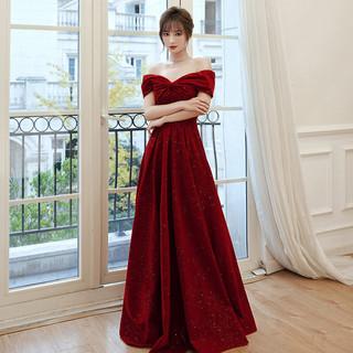 SAIDELE 塞德勒 塞德勒 敬酒服2021新款红色一字肩连衣裙 酒红色长款 XXXL(建议136-145斤)